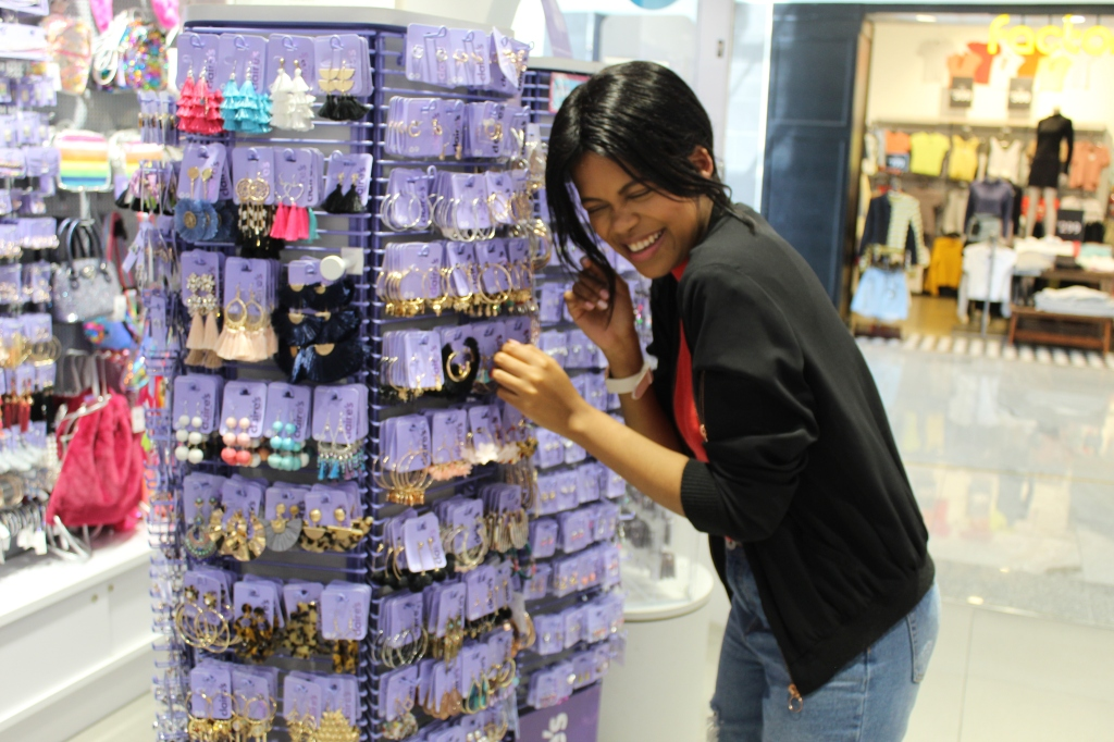 having fun while shopping at Claire's