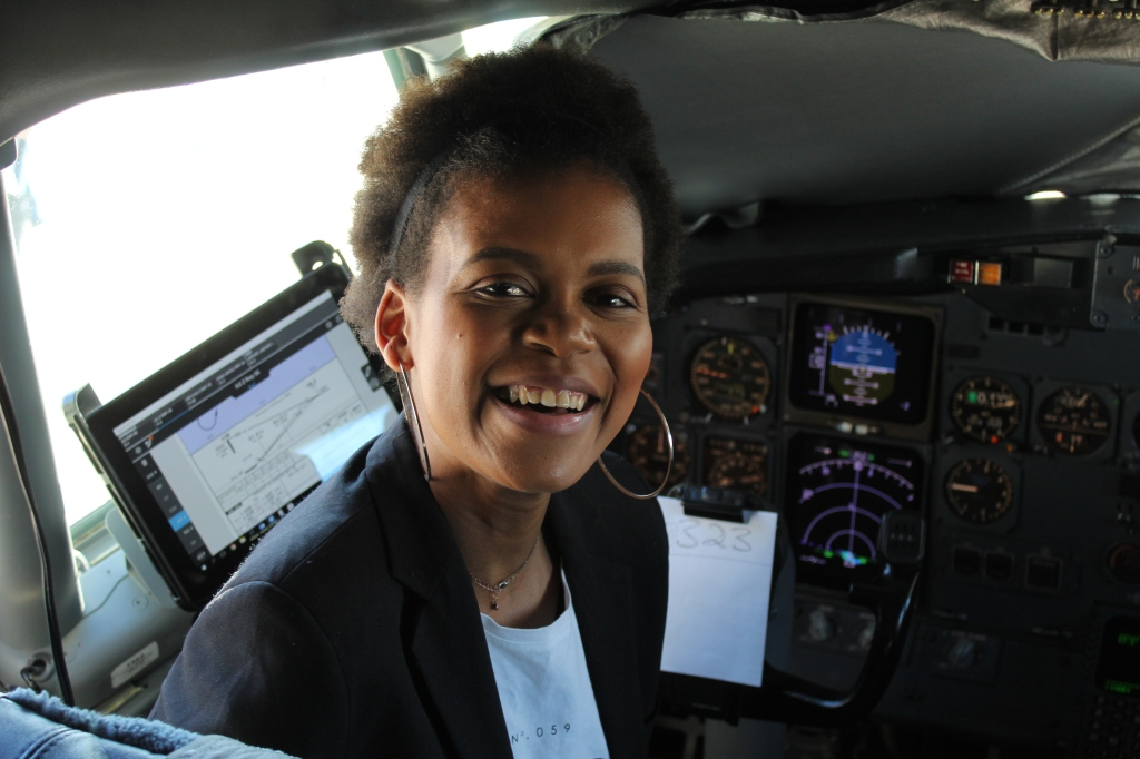 khalipha ntloko in cockpit of plane
