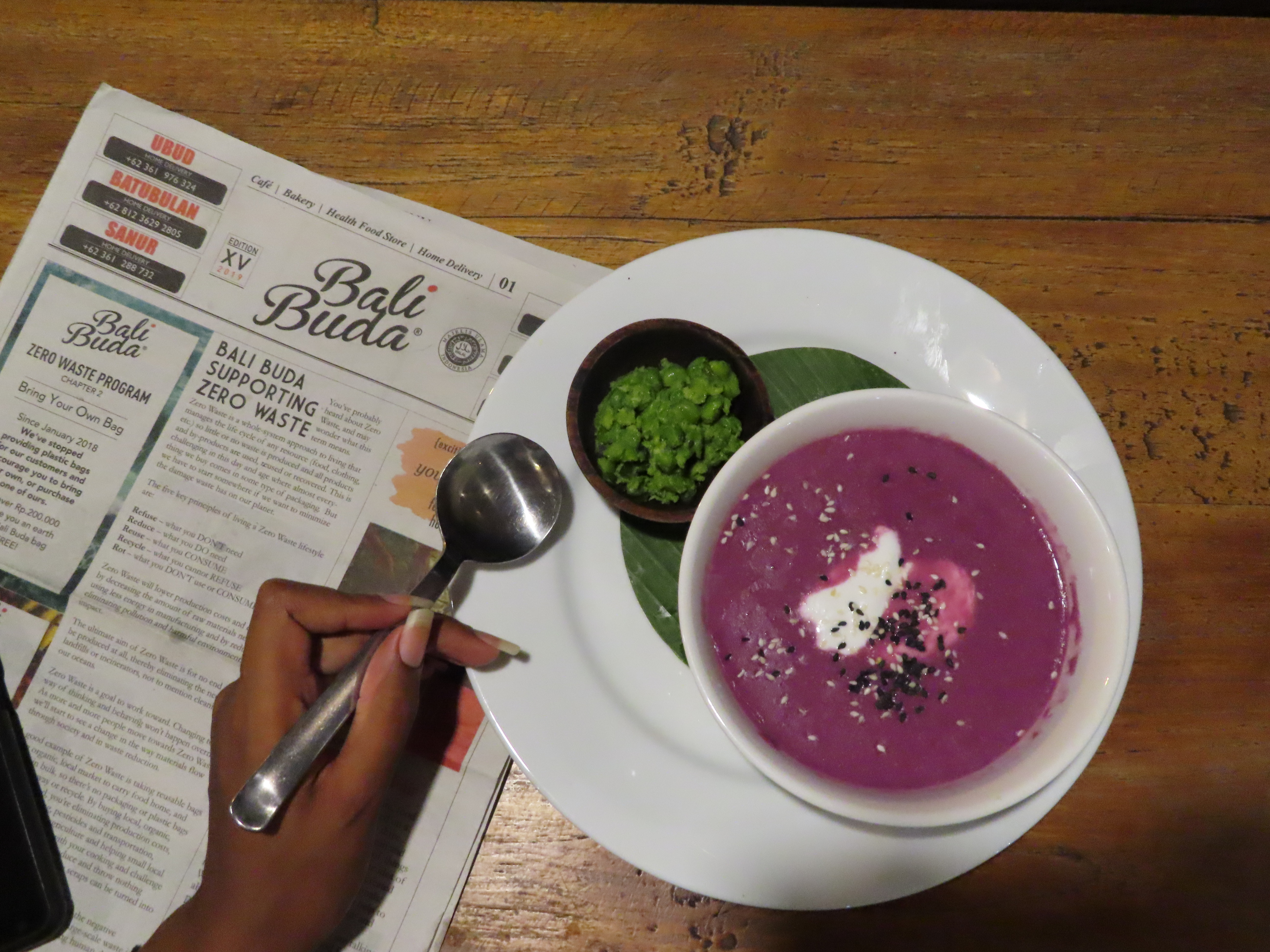 purple sweet potato soup with mashes peas at bali buda in canguu