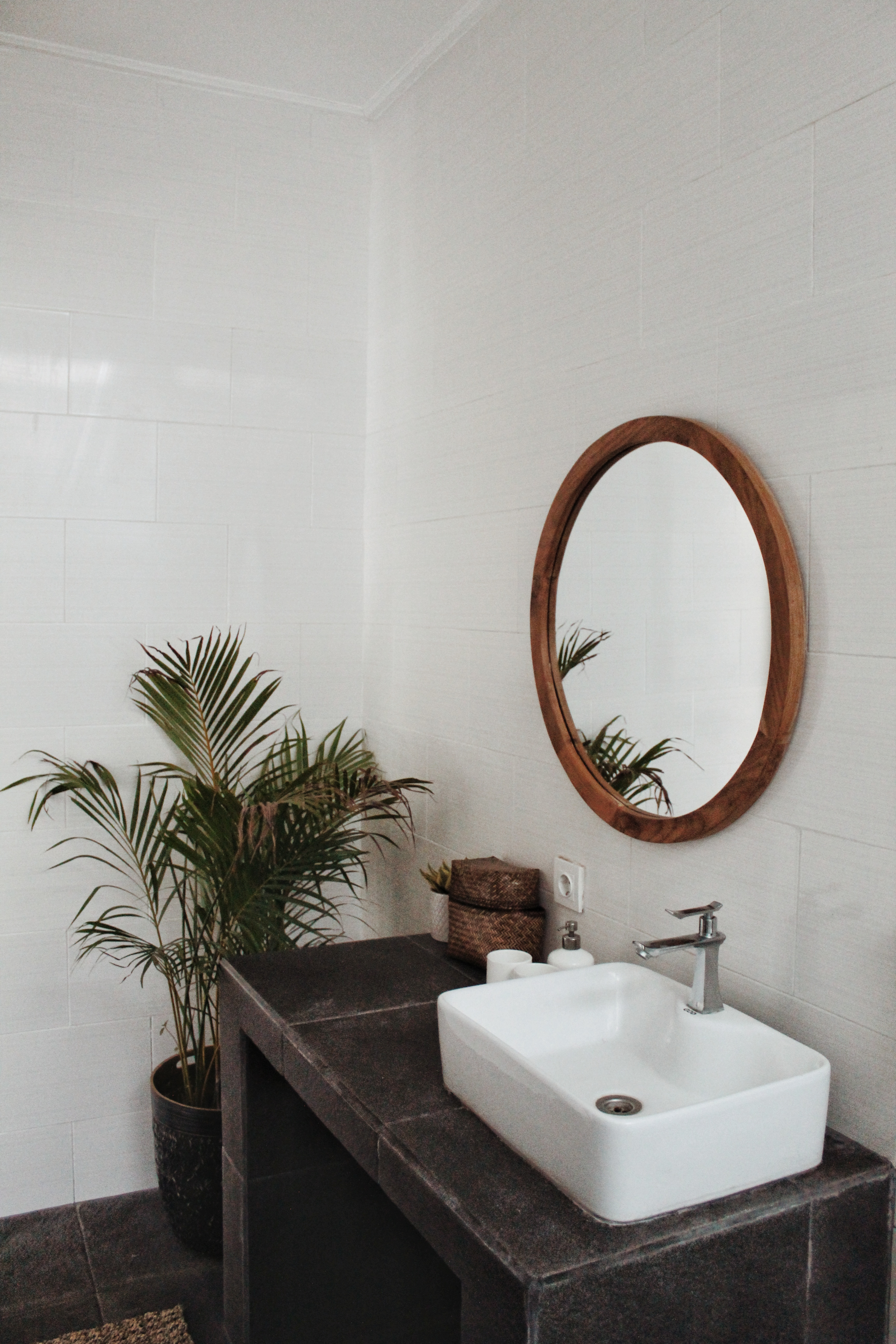 round mirror in bathroom with plant and sink