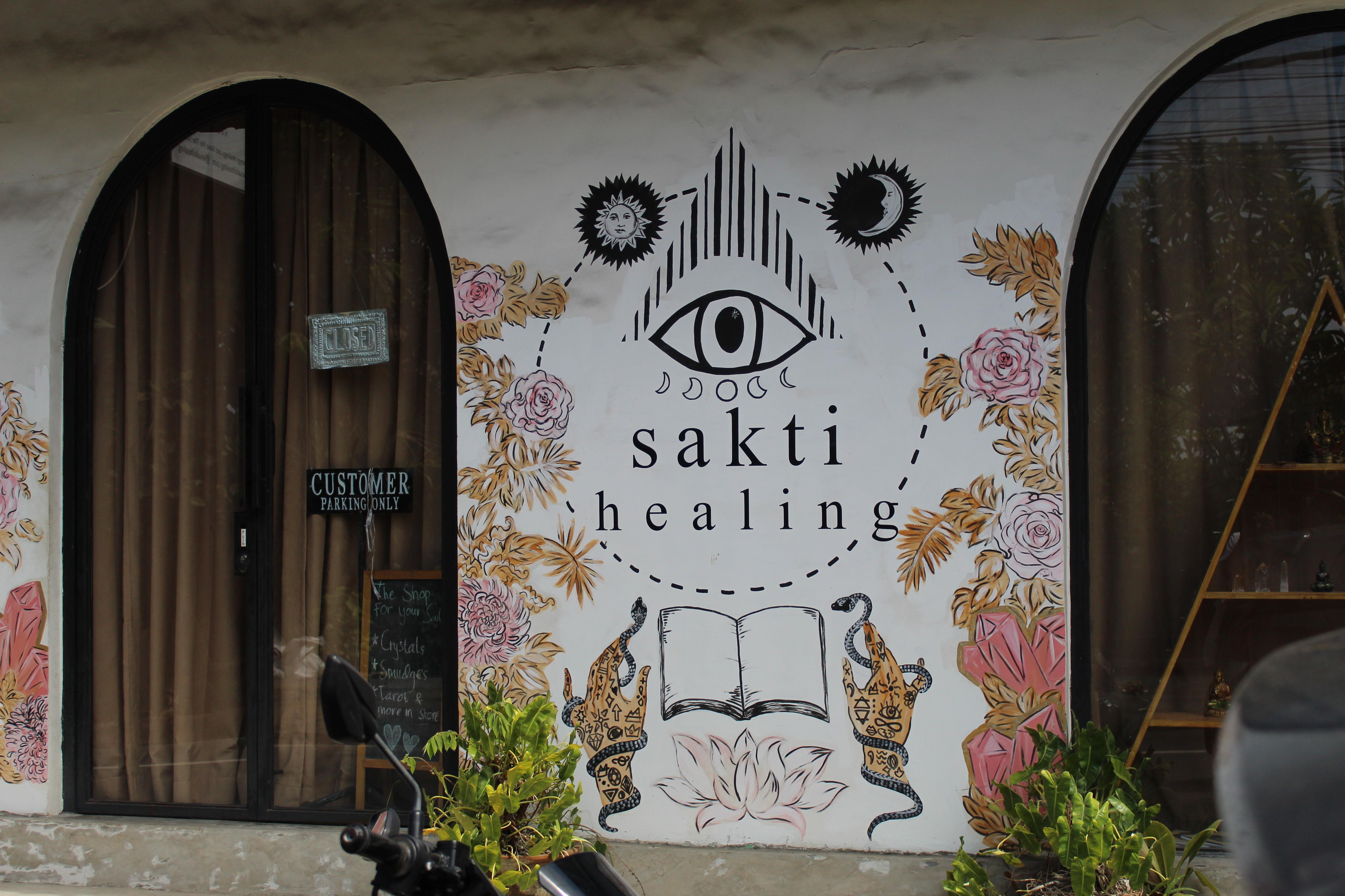 sakti healing and art or graffiti on the wall in canguu bali