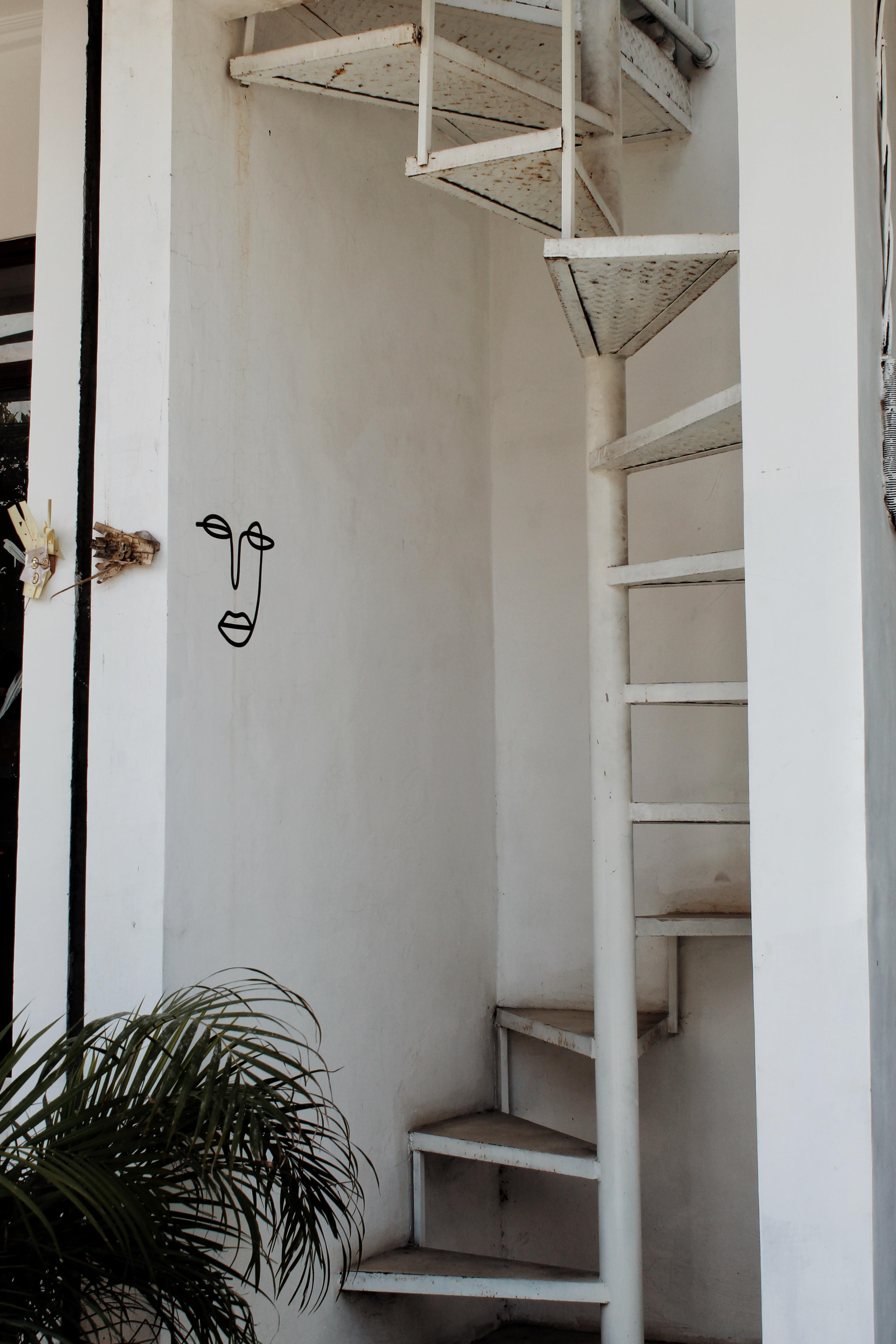 minimal art on wall and stairs in canguu bali