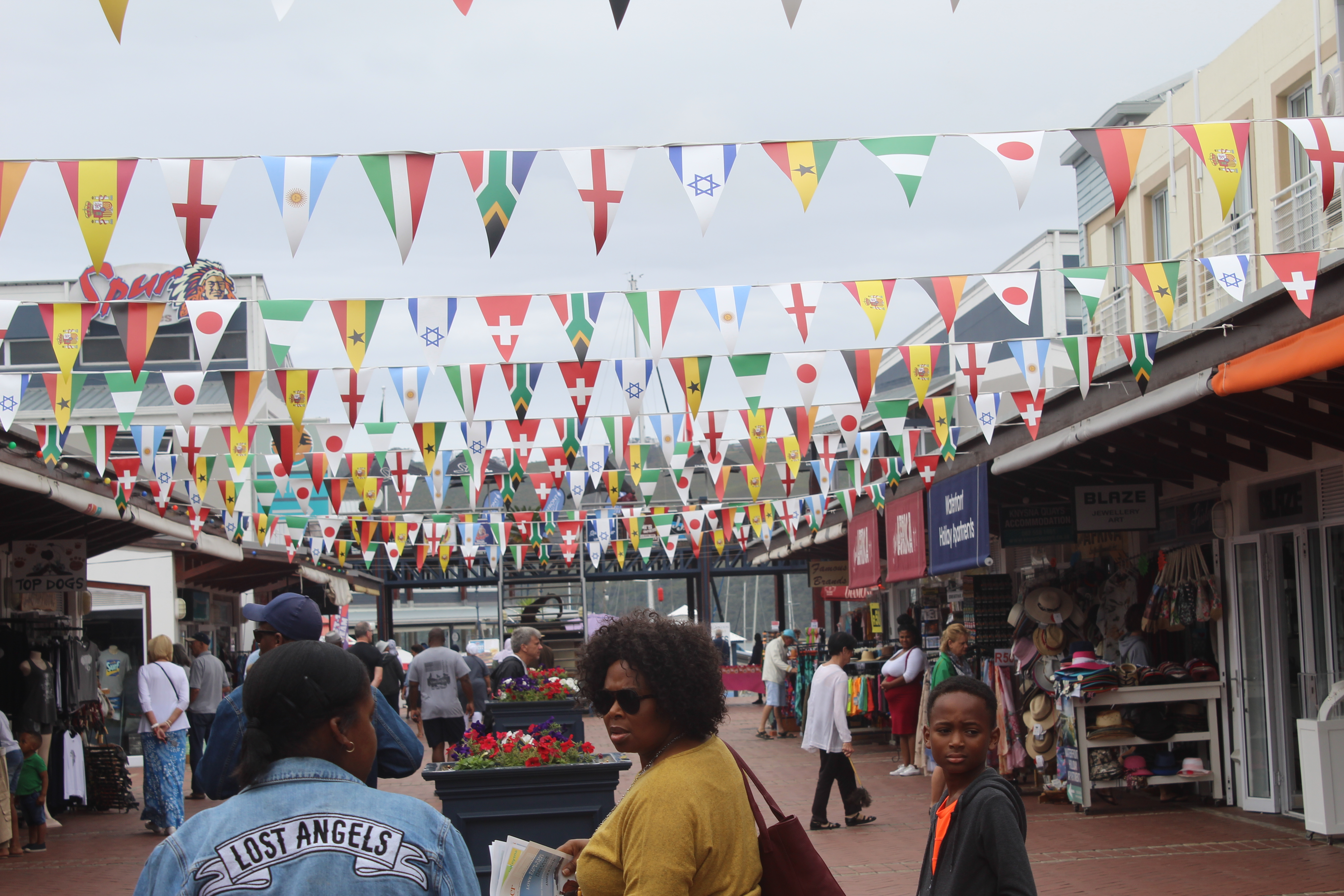 knysna quays with mini flags of the world