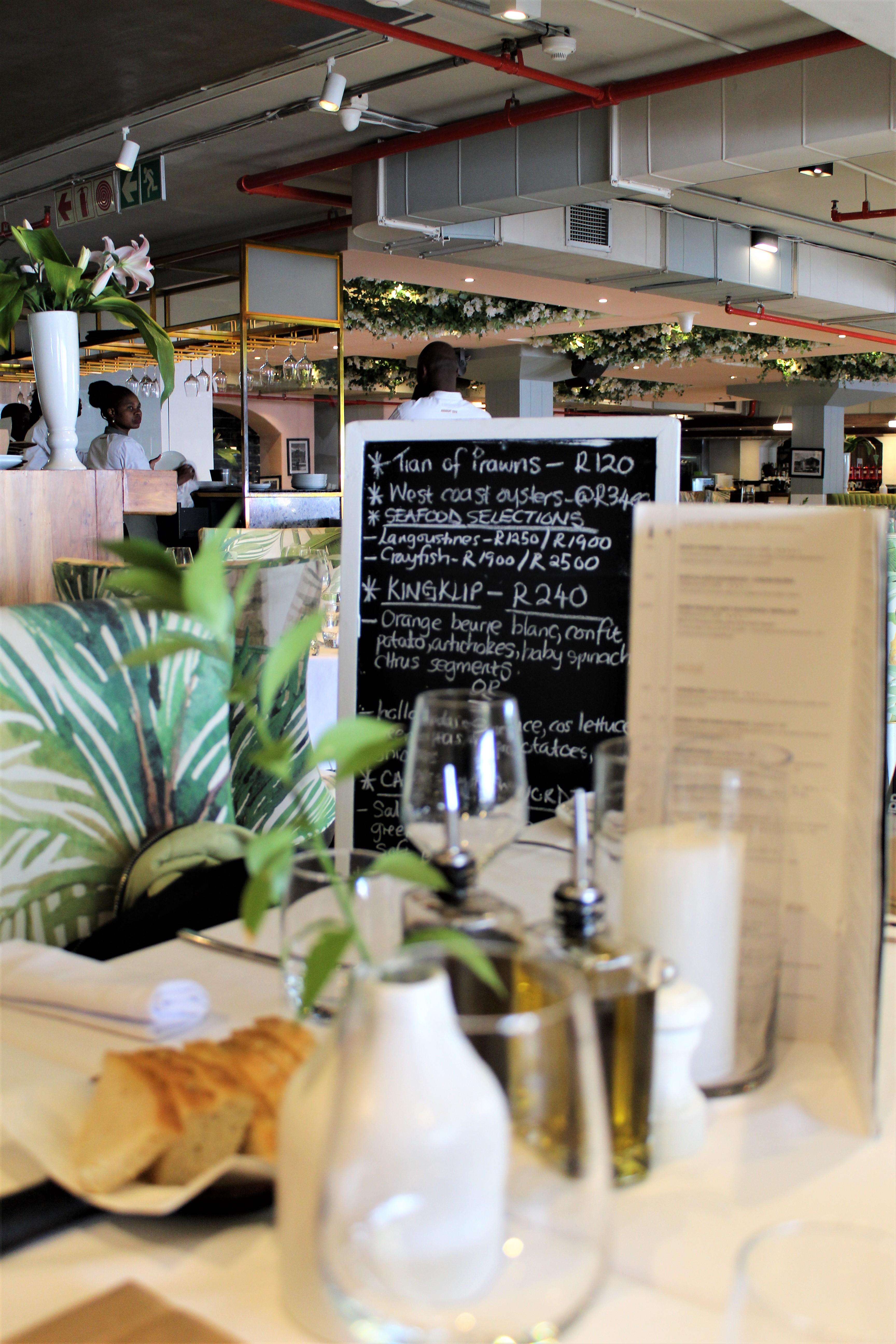sevruga restaurant at V&A waterfront at cape town interior and menu