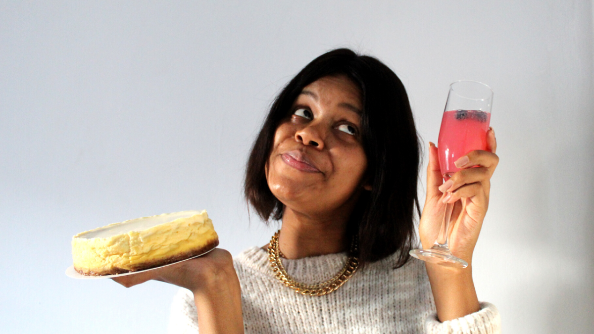 khalipha ntloko with baked cheesecake and pink drink